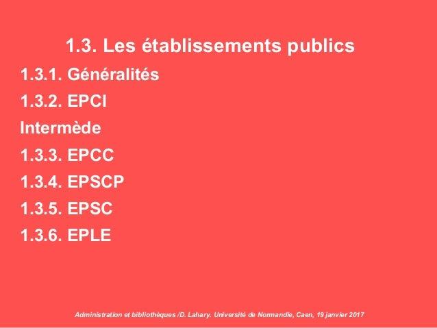1.3. Les établissements publics 1.3.1. Généralités 1.3.2. EPCI Intermède 1.3.3. EPCC 1.3.4. EPSCP 1.3.5. EPSC 1.3.6. EPLE ...