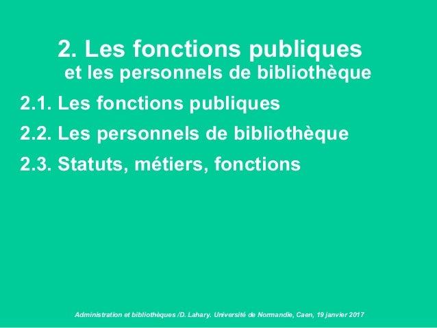2. Les fonctions publiques et les personnels de bibliothèque 2.1. Les fonctions publiques 2.2. Les personnels de bibliothè...