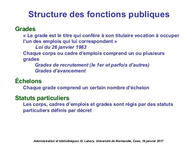 Structure des fonctions publiques Grades « Le grade est le titre qui confère à son titulaire vocation à occuper l'un des e...