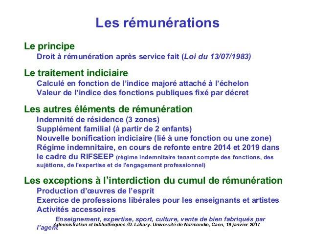 Les rémunérations Le principe Droit à rémunération après service fait (Loi du 13/07/1983) Le traitement indiciaire Calculé...