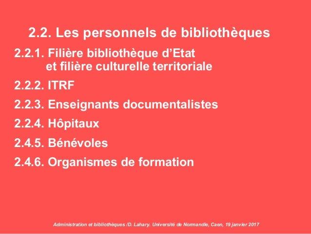 2.2. Les personnels de bibliothèques 2.2.1. Filière bibliothèque d'Etat et filière culturelle territoriale 2.2.2. ITRF 2.2...