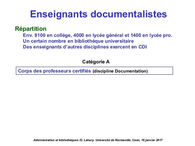 Enseignants documentalistes Répartition Env. 8100 en collège, 4000 en lycée général et 1400 en lycée pro. Un certain nombr...
