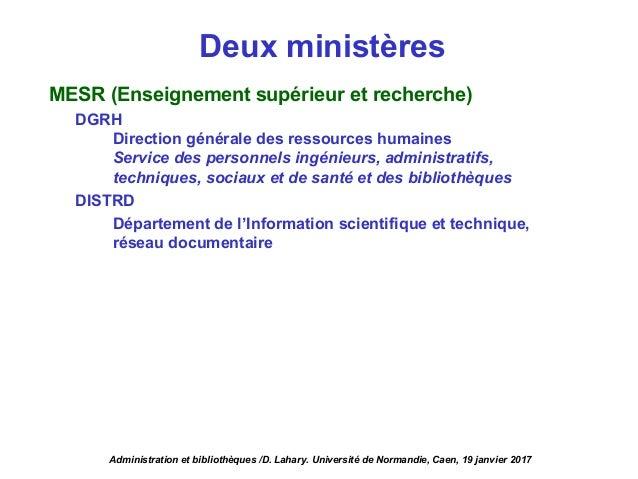 MESR (Enseignement supérieur et recherche) DGRH Direction générale des ressources humaines Service des personnels ingénieu...