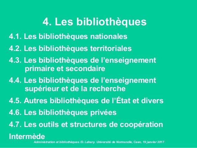 4. Les bibliothèques 4.1. Les bibliothèques nationales 4.2. Les bibliothèques territoriales 4.3. Les bibliothèques de l'en...