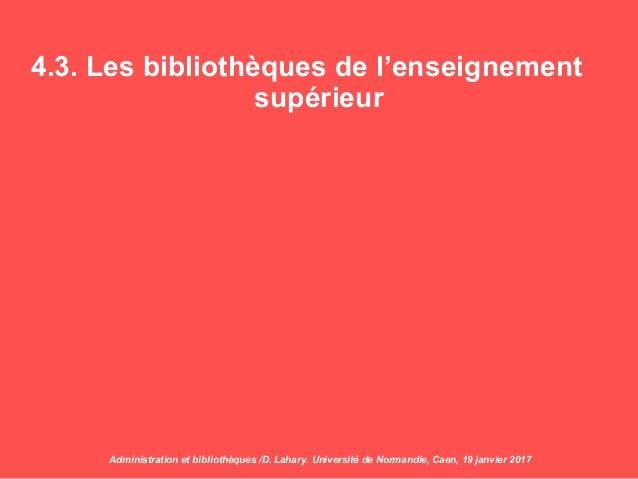 4.3. Les bibliothèques de l'enseignement supérieur Administration et bibliothèques /D. Lahary. Université de Normandie, Ca...