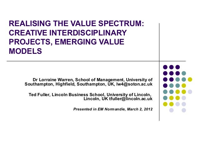 REALISING THE VALUE SPECTRUM:CREATIVE INTERDISCIPLINARYPROJECTS, EMERGING VALUEMODELS      Dr Lorraine Warren, School of M...