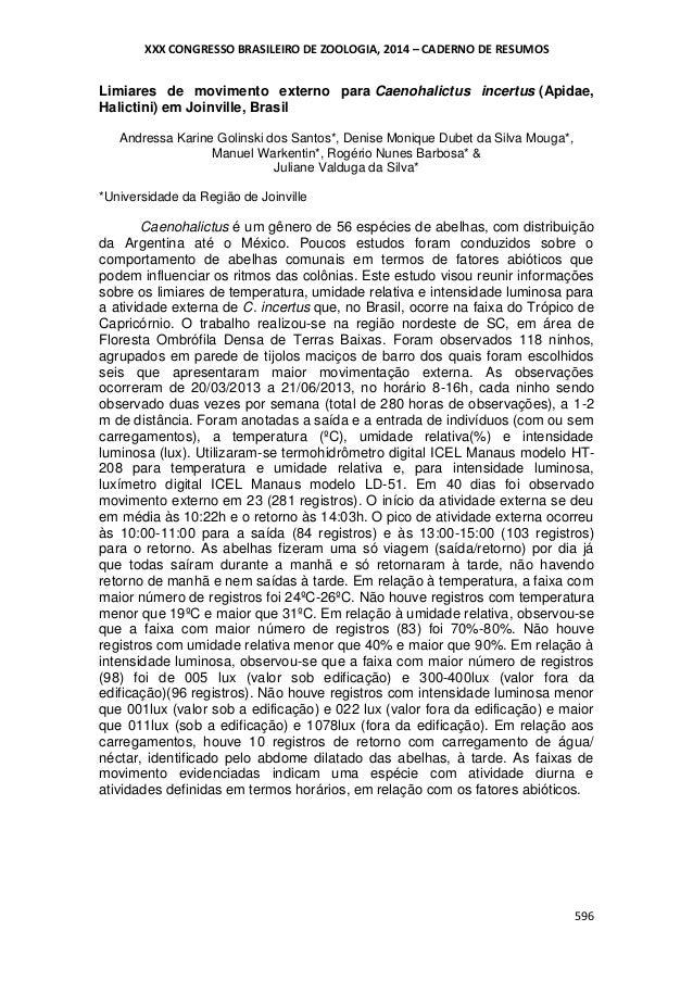 XXX CONGRESSO BRASILEIRO DE ZOOLOGIA, 2014 – CADERNO DE RESUMOS  Limiares de movimento externo para Caenohalictus incertus...