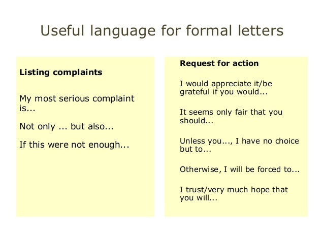 Useful language for Cae WT Paper Part1 – Formal Letter Complaint Sample