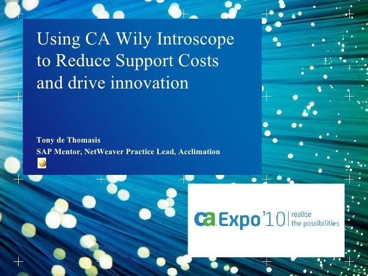 Tony de Thomasis  Using CA Wily Introscope to Reduce Support Costs and drive innovation SAP Mentor, NetWeaver Practice Lea...