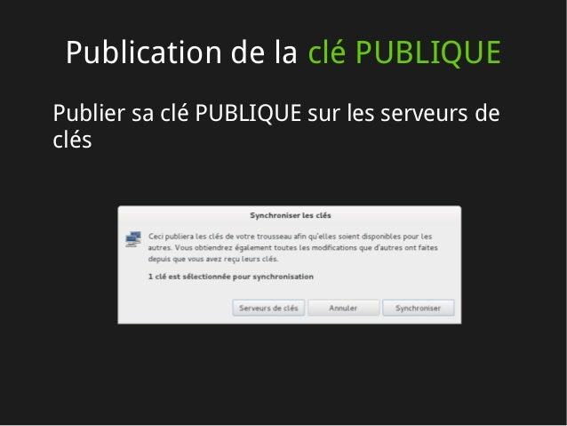 Publication de la clé PUBLIQUE Publier sa clé PUBLIQUE sur les serveurs de clés