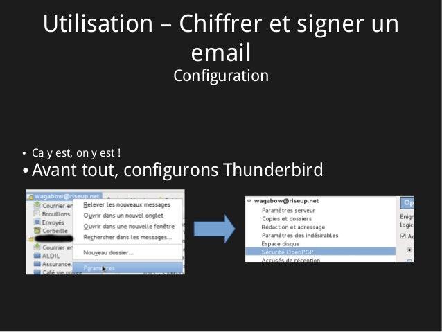 Utilisation – Chiffrer et signer un email Configuration ● Ca y est, on y est! ● Avant tout, configurons Thunderbird