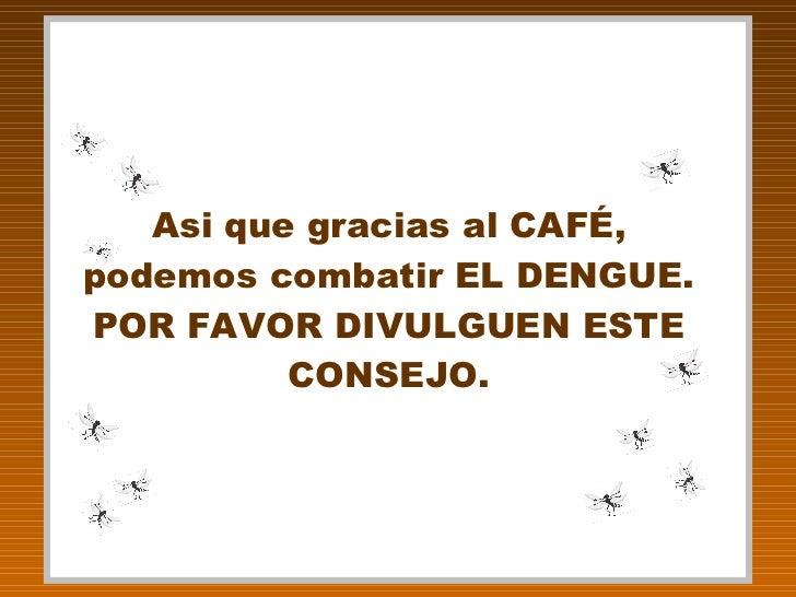 Asi que gracias al CAFÉ, podemos combatir EL DENGUE. POR FAVOR DIVULGUEN ESTE CONSEJO.
