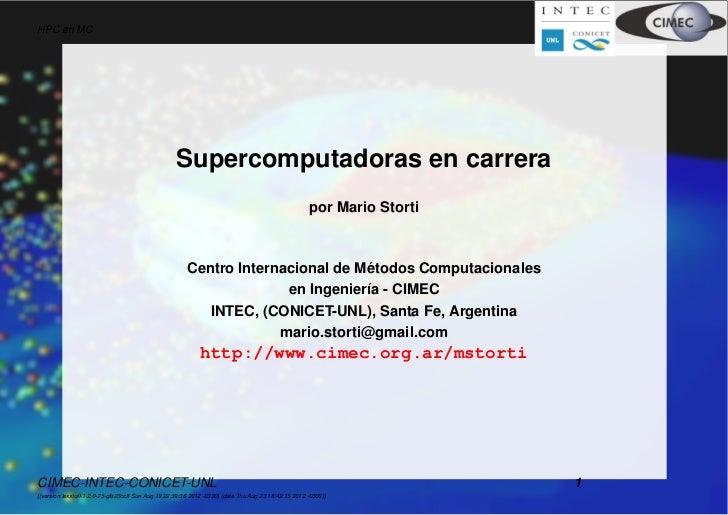 HPC en MC                                                   Supercomputadoras en carrera                                  ...