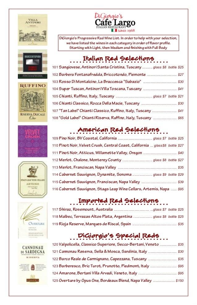 Digiorgio S Progressive Wine List 2014