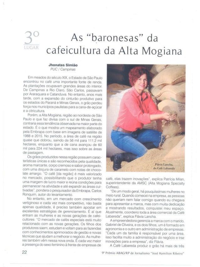 """As """"baronesas"""" da cafeicultura da Alta Mogiana"""