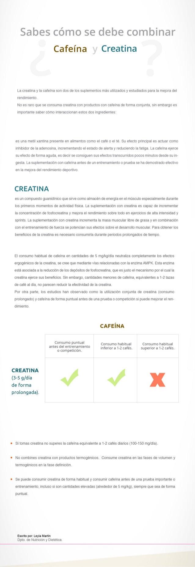Sabes cómo se debe combinar  Cafeína Creatina  La creatina y Ia cafeína son dos de Ios suplementos mas utilizados y estudi...