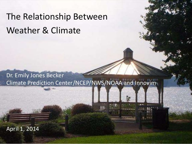The Relationship Between Weather & Climate Dr. Emily Jones Becker Climate Prediction Center/NCEP/NWS/NOAA and Innovim Apri...