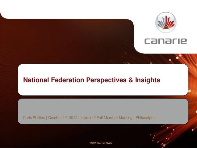 National Federation Perspectives & InsightsChris Phillips | October 1st, 2012 | Internet2 Fall Member Meeting | Philadelph...