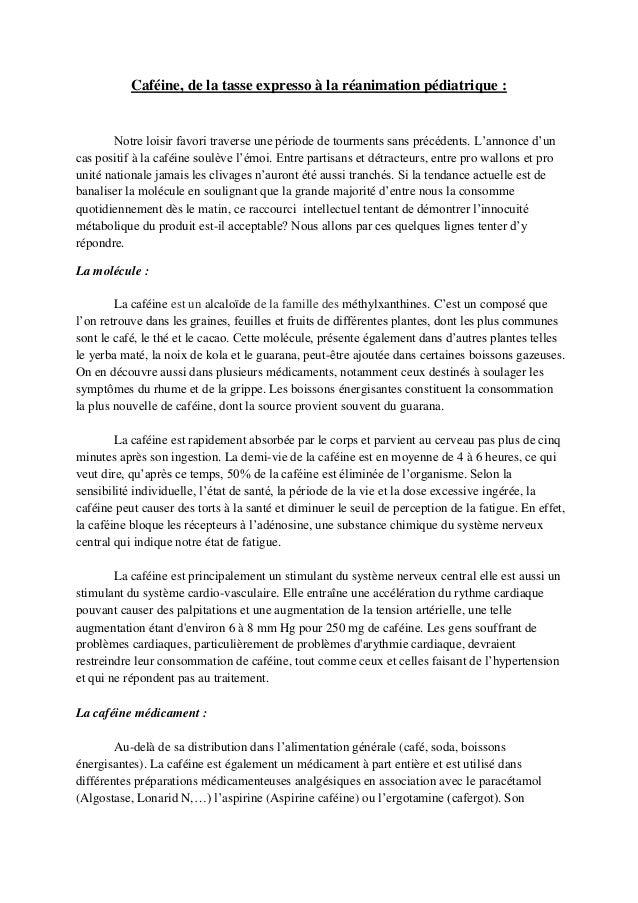 Caféine, de la tasse expresso à la réanimation pédiatrique :  Notre loisir favori traverse une période de tourments sans p...
