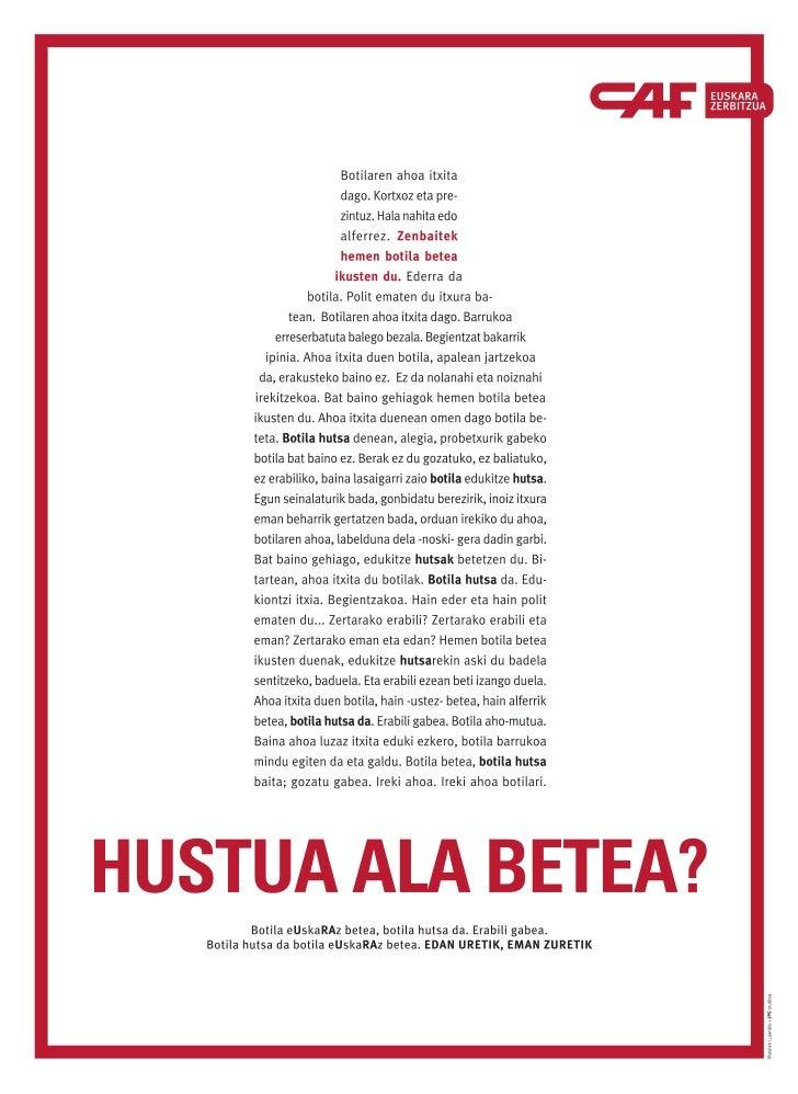 """Euskararen Eguna: """"Hustua ala betea? Hustu ahala betea"""" - CAF"""