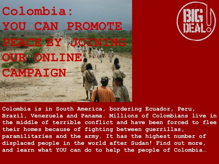 Colombia is in South America, bordering Ecuador, Peru, Brazil,   Venezuela and Panama.   Millions of Colombians live in th...