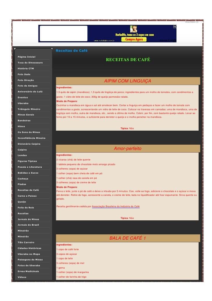 Show/Hidden (X)                             Receitas de Café Página Inicial  Toca do Dinossauro                           ...