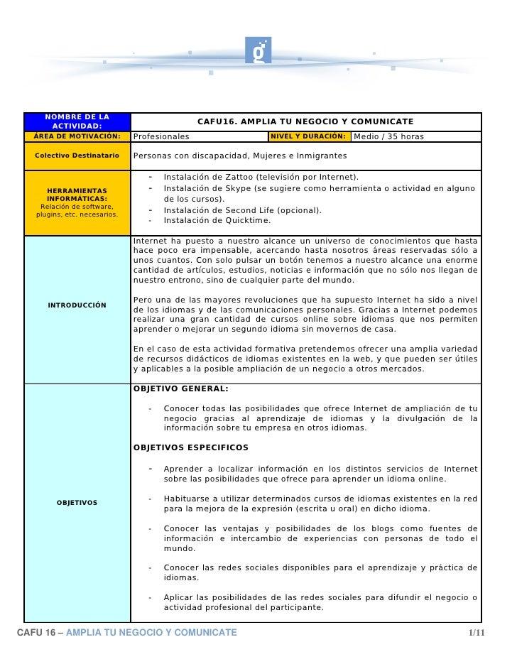 NOMBRE DE LA       ACTIVIDAD:                                                CAFU16. AMPLIA TU NEGOCIO Y COMUNICATE    ÁRE...