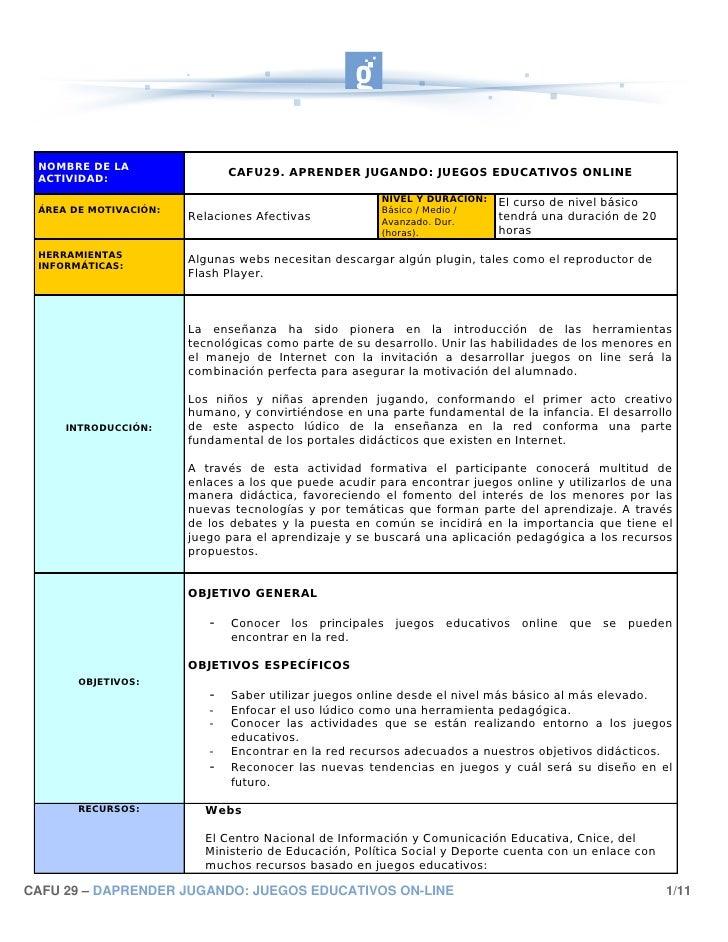 NOMBRE DE LA  ACTIVIDAD:                               CAFU29. APRENDER JUGANDO: JUEGOS EDUCATIVOS ONLINE                 ...