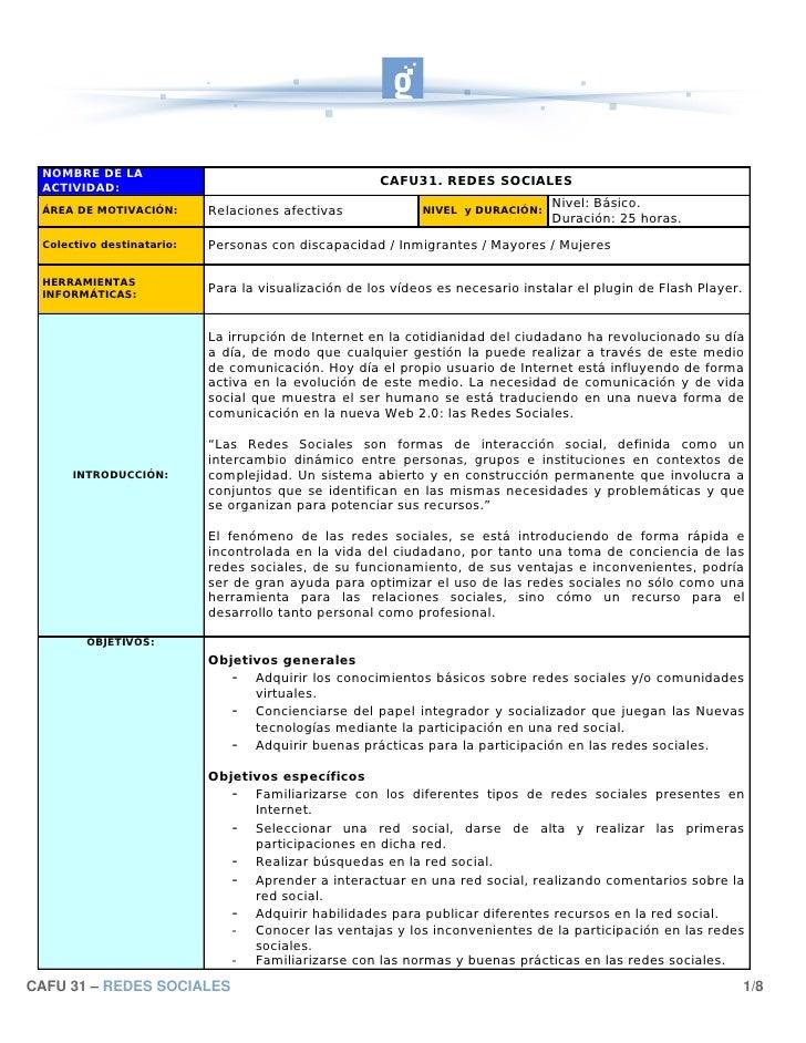 NOMBRE DE LA  ACTIVIDAD:                                                       CAFU31. REDES SOCIALES                     ...