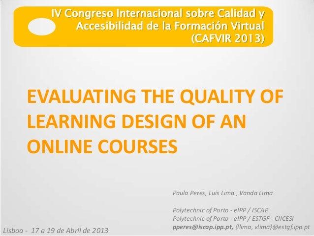 IV Congreso Internacional sobre Calidad y                    Accesibilidad de la Formación Virtual                        ...