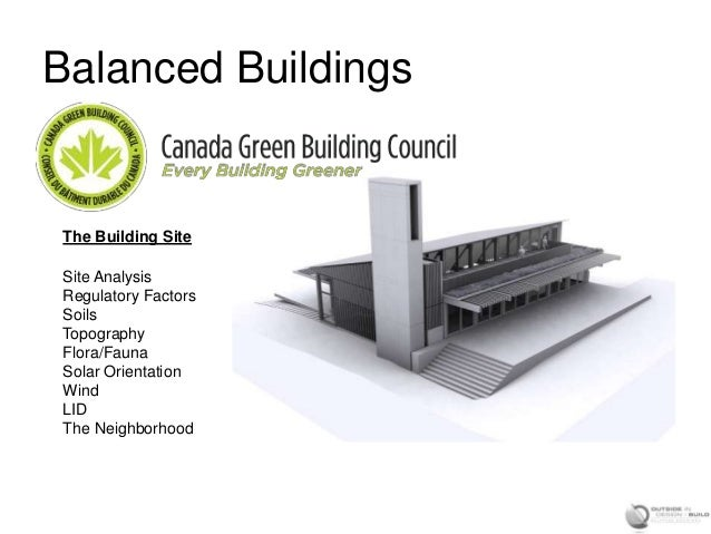 Balanced BuildingsThe Building SiteSite AnalysisRegulatory FactorsSoilsTopographyFlora/FaunaSolar OrientationWindLIDThe Ne...