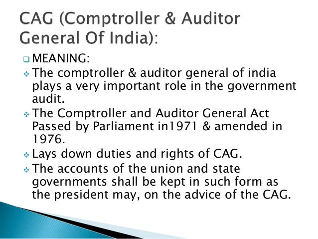 Cagcomptroller Of Auditors General Of India