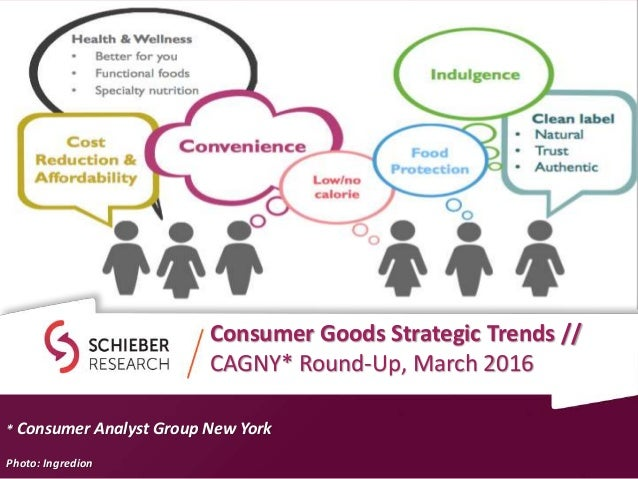 Consumer Goods Strategic Trends // CAGNY* Round-Up, March 2016 * Consumer Analyst Group New York Photo: Ingredion