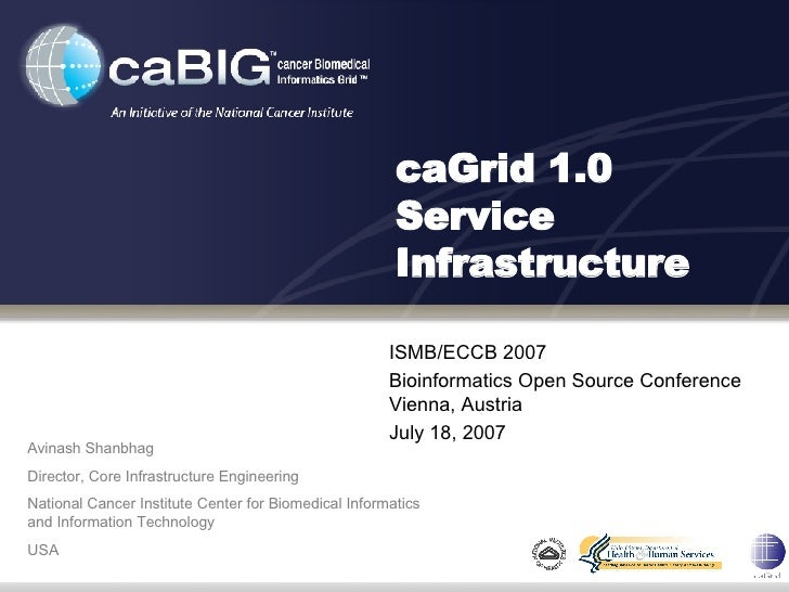 caGrid 1.0 Service Infrastructure ISMB/ECCB 2007 Bioinformatics Open Source Conference Vienna, Austria July 18, 2007 Avina...
