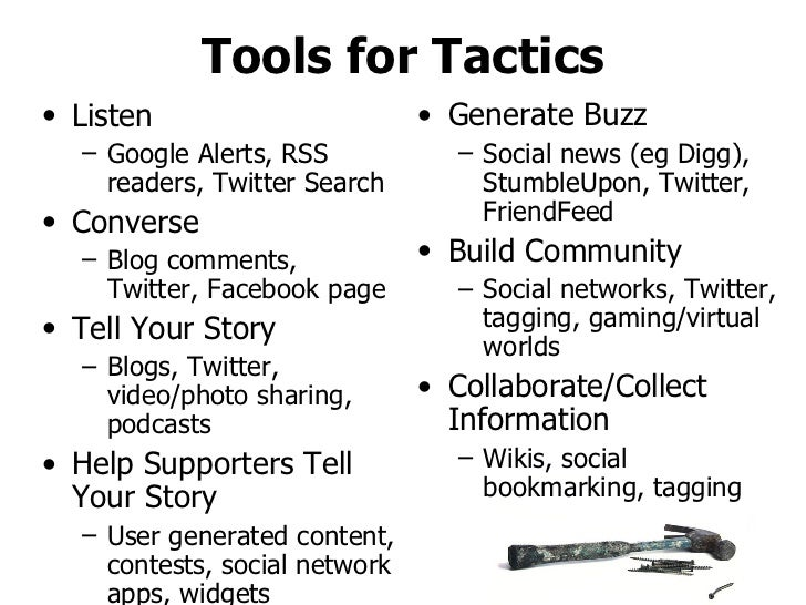 Tools for Tactics <ul><li>Listen </li></ul><ul><ul><li>Google Alerts, RSS readers, Twitter Search </li></ul></ul><ul><li>C...