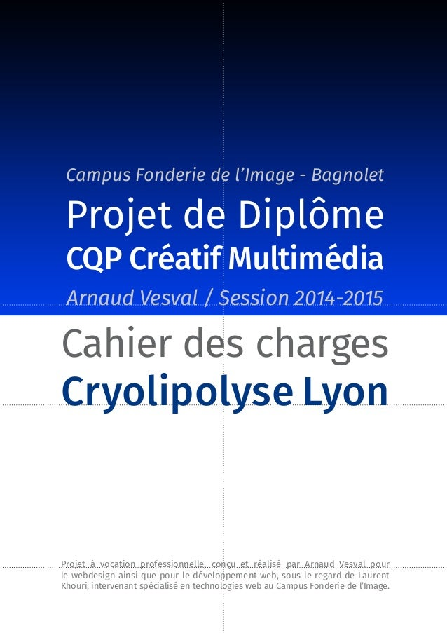 Arnaud Vesval / Session 2014-2015 Cahier des charges Cryolipolyse Lyon Projet à vocation professionnelle, conçu et réalisé...