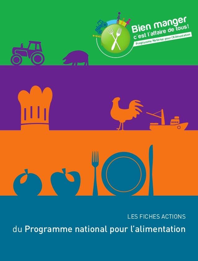 Programme National pour l'Alimentation LES FICHES ACTIONS du Programme national pour l'alimentation