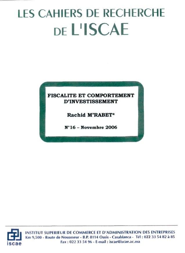 Introduction : La réforme fiscale entreprise au Maroc au début des années quatre vingt sous l'impulsion de la Banque Mondi...