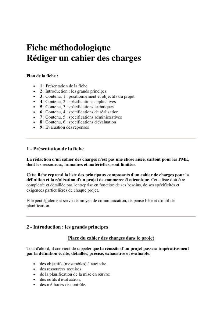 Fiche méthodologiqueRédiger un cahier des chargesPlan de la fiche :   •   1 : Présentation de la fiche   •   2 : Introduct...
