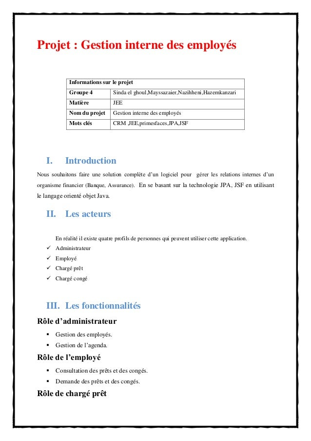 Cahier de charges projet crm buisness team j2ee - Cahier des charges def ...
