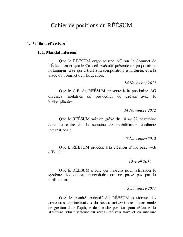 Cahier de positions du réésum 20 mars 2013 Slide 2
