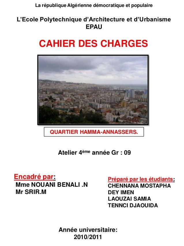 QUARTIER HAMMA-ANNASSERS. La république Algérienne démocratique et populaire L'Ecole Polytechnique d'Architecture et d'Urb...