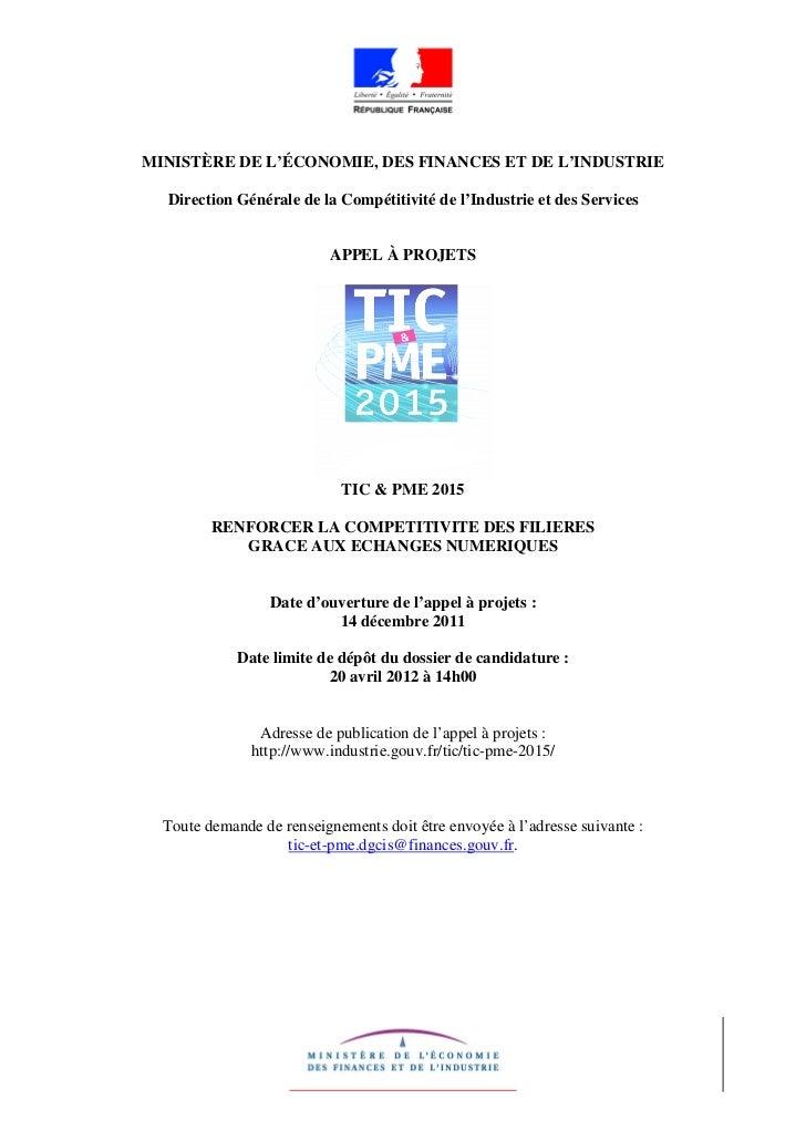 MINISTÈRE DE L'ÉCONOMIE, DES FINANCES ET DE L'INDUSTRIE  Direction Générale de la Compétitivité de l'Industrie et des Serv...