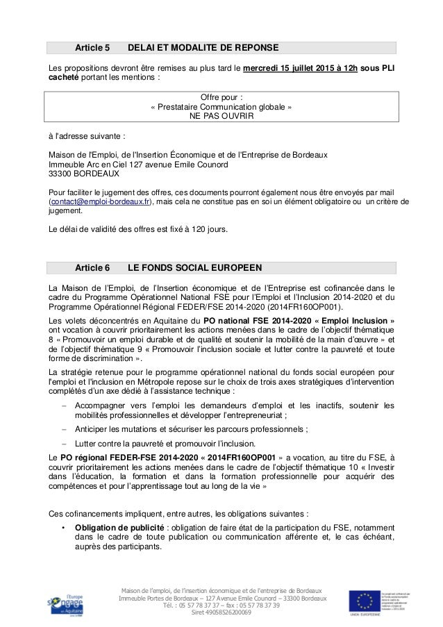 Cahier Des Charges Appel Offre Prestataire Communication Globale 2015