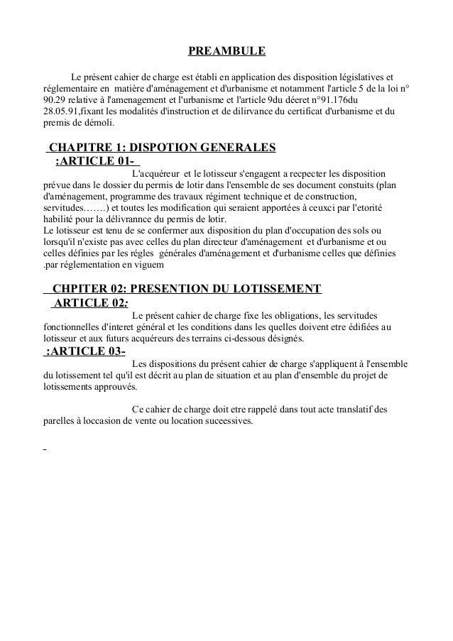 Cahier Des Charges Des Morcellement Dzabdou