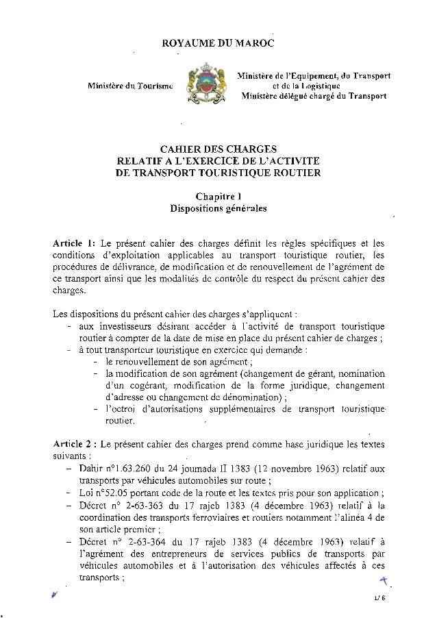cahier des charges transport touristique