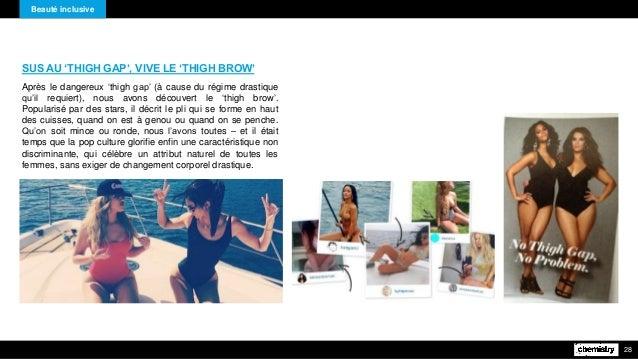Beauté inclusive 28 SUS AU 'THIGH GAP', VIVE LE 'THIGH BROW' Après le dangereux 'thigh gap' (à cause du régime drastique q...
