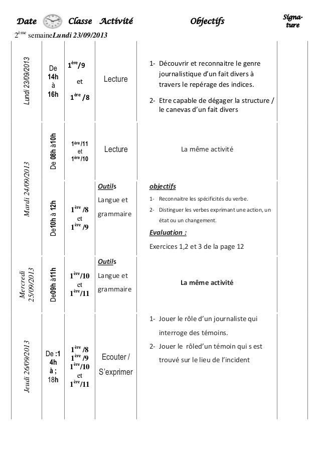 Classe Activité Objectifs Signa- ture 2ème semaineLundi 23/09/2013 Lundi23/09/2013 De 14h à 16h 1ère /9 et 1ère /8 Lecture...