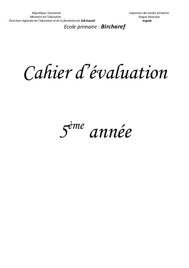Cahier D Evaluation 5eme