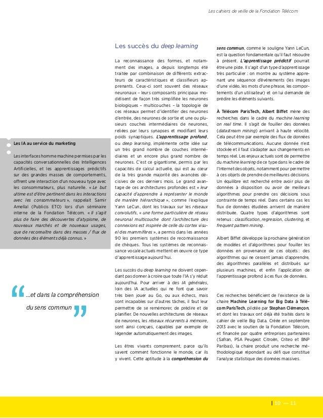 10 — 11 Les cahiers de veille de la Fondation Télécom Les IA au service du marketing Les interfaces homme machine permise...